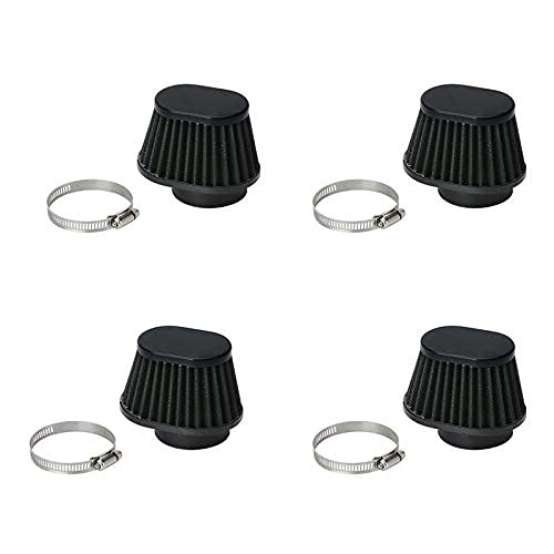 KTZAJO Filtro de aire para motocicleta y coche, 4 unidades, universal, redondo, 51 mm, 2 pulgadas, color negro