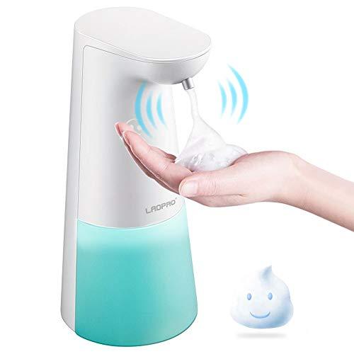 LAOPAO Dispenser Sapone Automatico, Dispenser Sapone 250ml con Sensore a Infrarossi Senza Contatto e Base Impermeabile per Bagno e Cucina