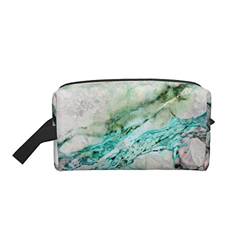 Bolsa de maquillaje de moda cosmética bolsa de viaje playa océano agua gris menta plata oro mármol grande neceser maquillaje organizador para las mujeres