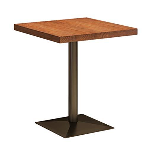 Mesa de negociación cuadrada, mesa de centro Iron Art, tablero de madera maciza, patas de mesa de hierro forjado resistentes, para cafetería, restaurantes, áreas de descanso, tamaño 60 x 60 x 75 cm