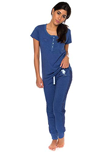 US Polo Assn. Womens 2 Piece Shorts Sleeve Shirt and Skinny Pant PJ Set Blue XL