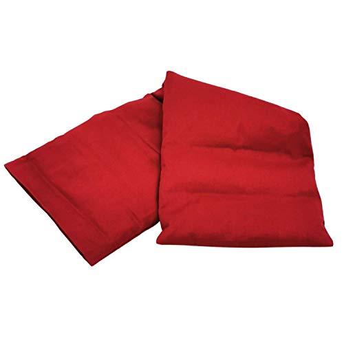 Aminata BALANCE Körnerkissen 60x20 cm Mikrowelle groß für Nacken, Schulter & Rücken Raps-Samen-Körner-Kissen Wärme-Kissen - Wein-rot - Motiv für Damen, Frauen & Mädchen - Abnehmbarer Bezug