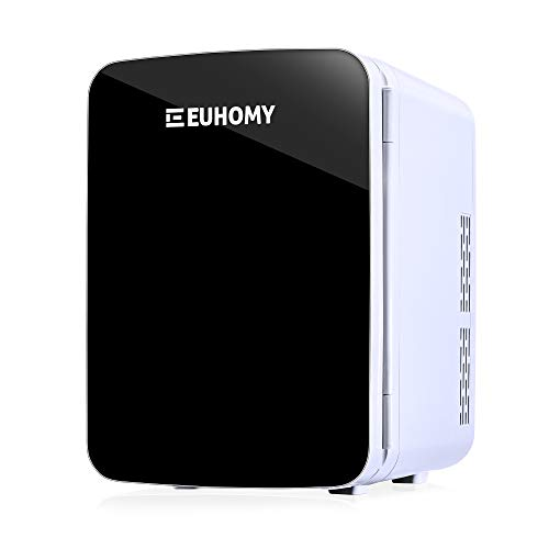 Euhomy Mini fridge for bedroom, 10 L Mini skincare fridge & Makeup fridge for skincare, Car fridge Cooler and Warmer with AC/DC, Mini fridge for skin care and cosmetics, For Office/Bedroom/Car.(Black)