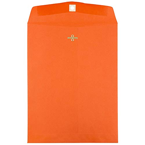 JAM PAPER 9 x 12 Colored Envelopes with Clasp Closure - Orange Recycled - 10/Pack