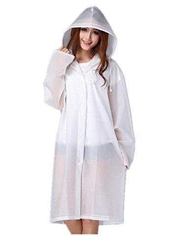 beilan Frauen Regen Mantel mit Kapuze verstaubarer leicht transparent lang Wasserdicht Regen Jacken