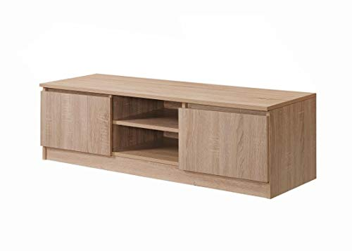 Timber Art Design Turin Modern TV Unit 120cm Media Cabinet 2 Doors + Shelf Sonoma Oak