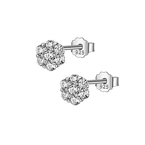 HUYV Stud Earrings For Woman,原文 Fashion Hexagonal Zircon Earrings 925 Silver Stud Earrings For Christmas Birthday Jewelry Gift Men Girls