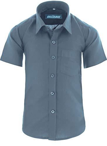GILLSONZ A0 vDa New Kinder Party Hemd Freizeit Hemd bügelleicht Kurz ARM mit 9 Farben Gr.86-158 (122/128, Grau)