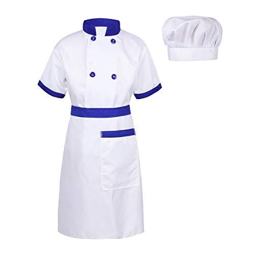 Yeahdor Unisex Kinder Chef Koch-Kostüm Uniform Kochkleidung Kinder Kochjacke Kücheschürze Kochmütze Kinderksotüm Karnevalskostüm 4er Set Blau&Weiß 128-140/8-10 Jahre