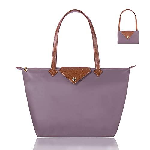 BOJLY Bolsos Totes para Mujer, bolso de mano para mujer, con diamantes de nailon, para compras, plegable, bolsa de viaje, impermeable, ideal para ocasiones especiales, color púrpur