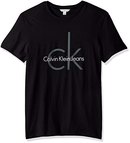 Calvin Klein Jeans Men's Short Sleeve Classic CK Logo Crew Neck T-Shirt, Greener Pasture, X-Large