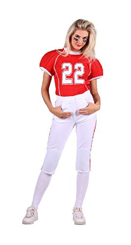 narrenkiste T2734-0502-XS rot-weiß Damen Football Trikot Rugby Kostüm Gr.XS