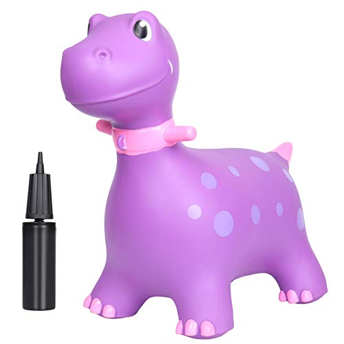 AOLIGE Dinosaur Bouncy Horse Hopper Ride On Animal Toys with Pump Inflatable Jumping Horse for 1, 2, 3, 4, Year Old Kids Toddlers Girls (Purple)