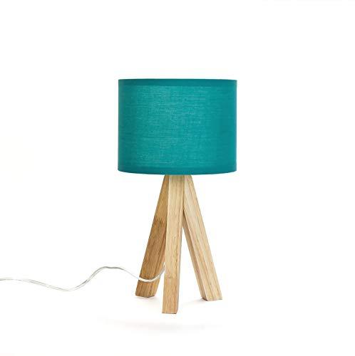 Stylische Tischlampe Dreibein aus Holz Stoff Schirm in Petrol E14 Nachttischleuchte