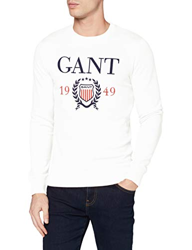 GANT D1. 1949 Crest C-Neck Sweat Sudadera, Eggshell, 113 para Hombre