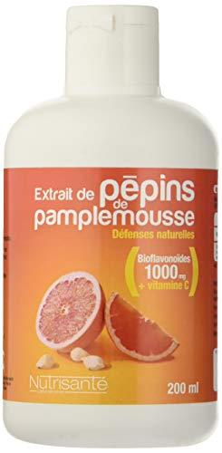 Nutrisanté - Extrait de Pépins de Pamplemousse EPP + Vitamine C: Défenses Naturelles 200 ml Concentré en Bioflavonoïdes