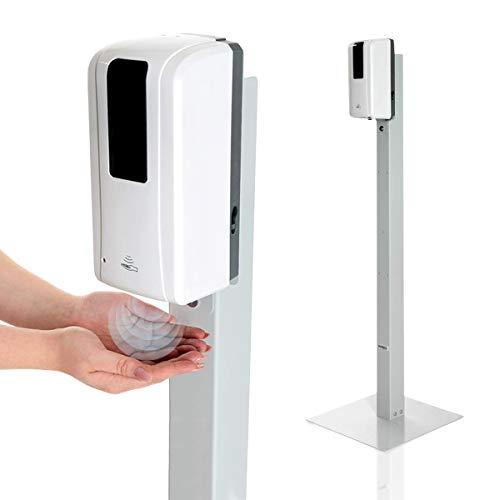 KRIEG Desinfektionssäule mit Sensor I Grau I Kontaklose Hygienestation 1000 ml - 333 Sprühstöße I Desinfektionsstation freistehend, stabil, höhenverstellbar, automatisch I Hygienesäule Ready to go
