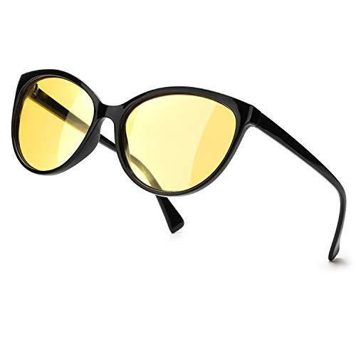 TJUTR Polarisierte Nachtfahrtbrille Damen, HD-Nachtsichtbrillen Reduzieren Blendung UV-Schutz Nachtbrillen (Schwarz/Gelb Nachtsichtbrille)