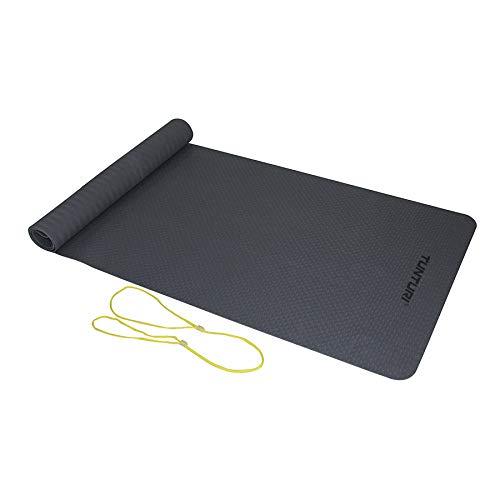 Tunturi Gymnastikmatte 3 mm, Fitnessmatte mit Gummiband, Anthrazit, Anti-Rutsch-Matte, Sportmatte für Yoga, Pilates, Krafttraining