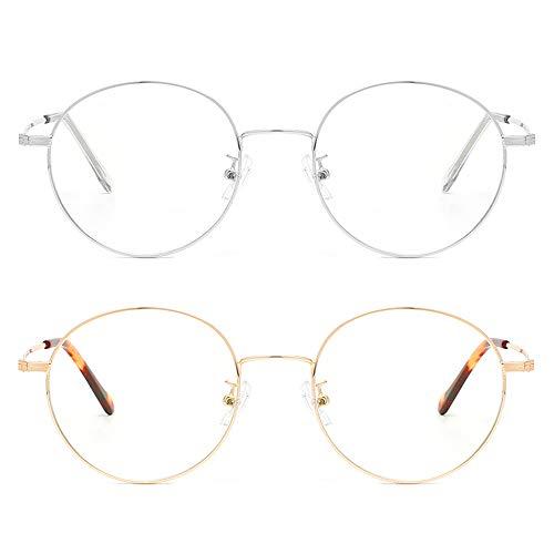 Cyxus Blaulichtfilter Brille 2 Stücke, Runde Metall Brille Ohne Sehstärke, Anti Blaulicht für Computer, Handy, Elektronischen Produkt