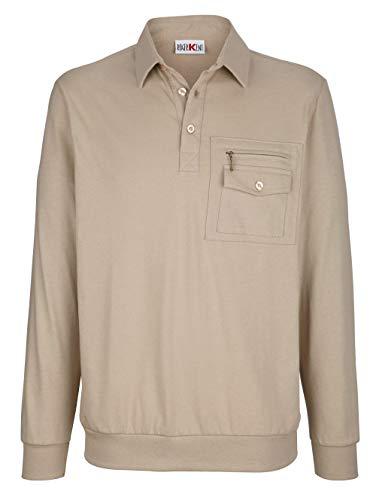 Roger Kent Herren Blouson-Shirt – Langarm-Shirt aus Baumwoll-Mix, Pullover mit Hemd-Kragen in bügelleichter Qualität, Polo-Hemd in Sand, Gr. 46, Sand, Gr. 62