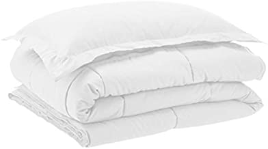 AmazonBasics Down-Alternative Comforter Bedding Set with Pillow Sham - Twin, White