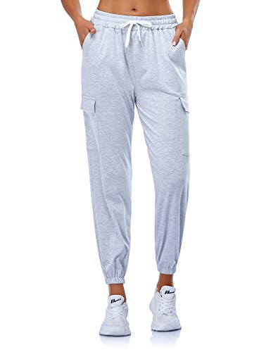 EVELIFE Jogginghose Damen High Waist Sportshose Leggings Mit Taschen Freizeithose Sports Pants Trainingshose Für Yoga Fitness Running(Grau M)
