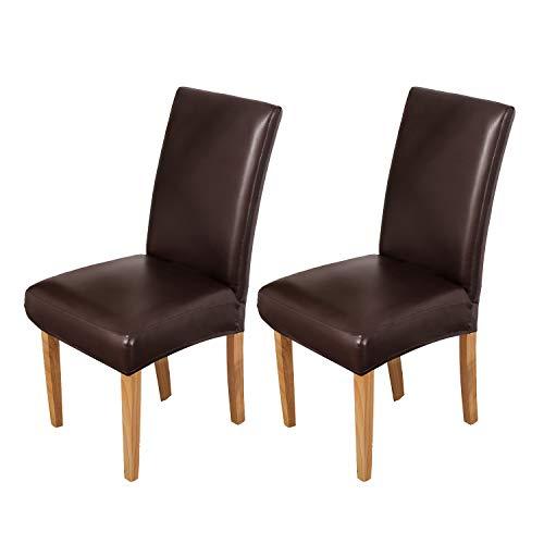 OSVINO 2er/4er Set Stuhlhussen PU Leder Stuhlbezug wasserabweisend Stretch für Haus Büro Restaurant, Braun 2 Stücke