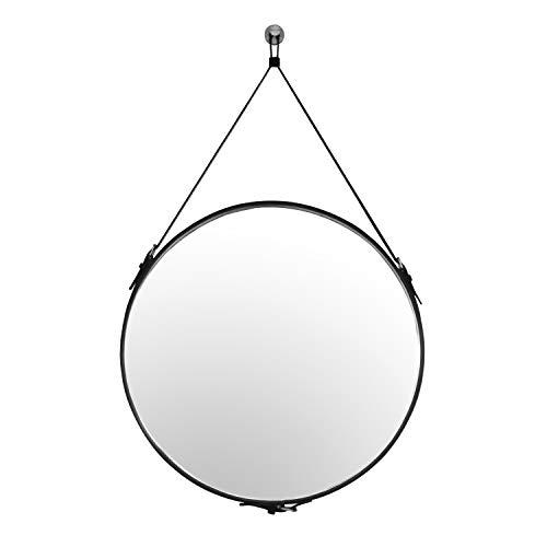 HofferRuffer 60cm Wandspiegel, Rund Spiegel mit Gürtel, Wand Hängend Spiegel, Gurt-Aufhängung Runder, Badezimmer Hängenden Spiegel, Schwarz