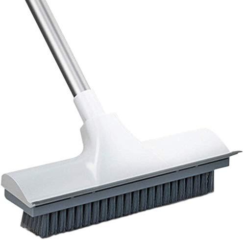 N\C Cepillo de limpieza de ducha y raspador 2 en 1 piso exfoliante mango largo Tiff cerdas cepillo depurador cubierta para limpieza interior baño