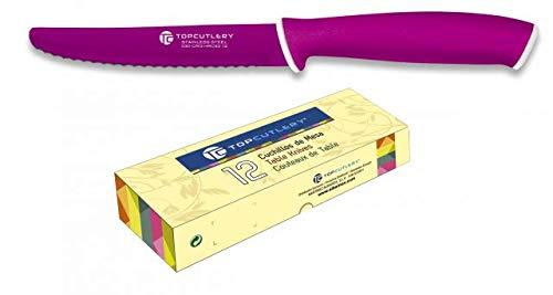 Doce cuchillos de mesa Top Cutlery Sierra Morado 11 cm Cocina profesional chef profesional acero al carbono inoxidable de alta calidad alemán Top Cutlery 17321-MO + Portabotellas de regalo