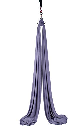 F.Life 11 Yards Aerial Silks Equipment- Medium Stretch Aerial Silk Hardware kit for Acrobatic Dance,Air Yoga, Aerial Yoga Hammock 10 Meters Long (Dark Gray)