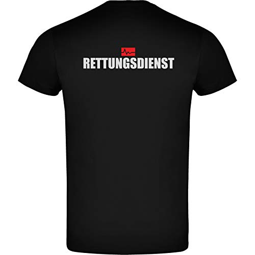 Rettungsdienst Herren Men's T-Shirt Licht-reflektierende Folie Aufdruck L24 schwarz Black (XXL)