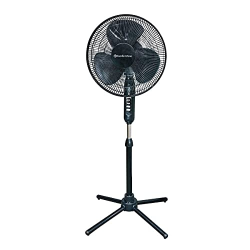 """16"""" Oscillating Pedestal House Fan by Comfort Zone. 3-speed Options, 90-Degree Oscillating Head, Adjustable Height and Tilt. Powerful Air Flow (Black)"""