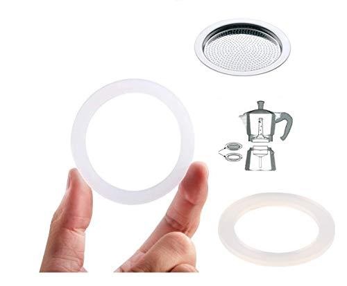WESTCRAFT – 2 Stück Silikon-Dichtungsring/Gummiring + Sieb/Filter - Ersatz für Espresso-Kocher mit 1 2 3 oder 6 Tassen (Ersatzring (64mm) + Sieb (57mm) für Espressokocher mit 3 Tassen)