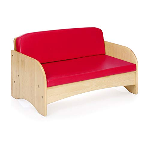 Guidecraft Children's Wooden Reading Couch with Red Cushion – Durable Classroom Playroom Furniture