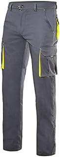 VELILLA 103008S Pantalón Multibolsillos Stretch Bicolor Color Gris/Amarillo flúor Talla 48