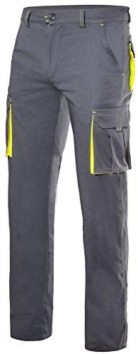Velilla 103008S - Pantaloni (Taglie 36) colore grigio e giallo fluo