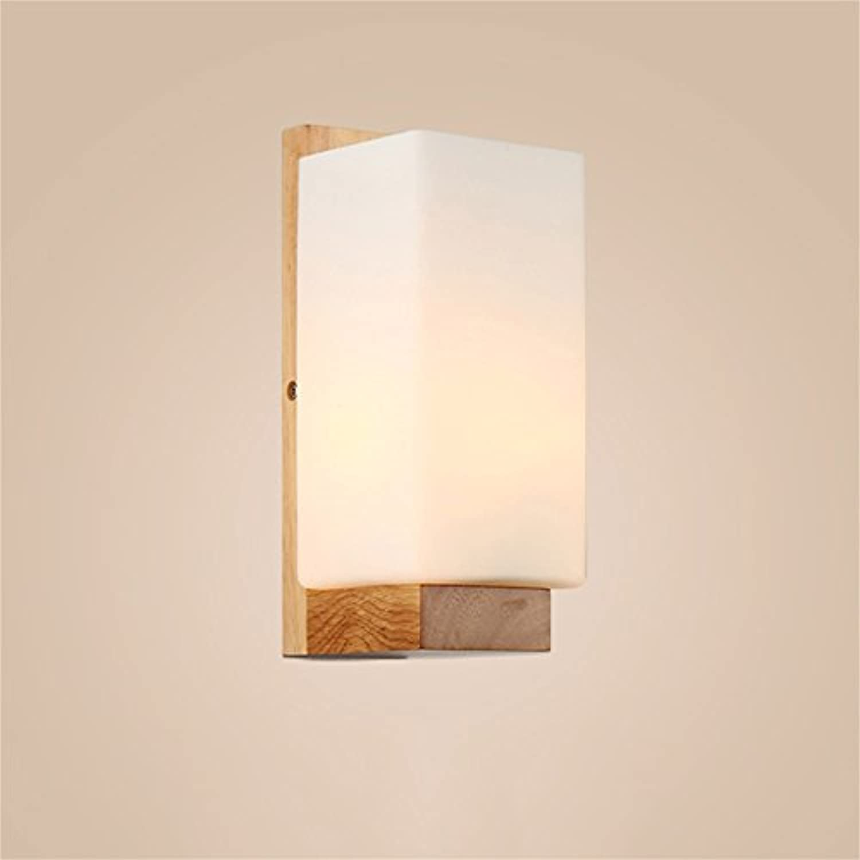 Xiuxiu Nordic Style LED Wandleuchte Moderne Minimalistische Holz Bett Gang Eingang Lampe Kreative Mode Holzbeleuchtung