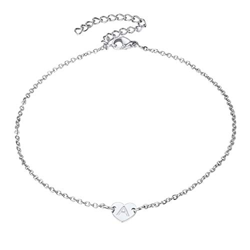 FindChic Love Heart Anklet Anklet With Initial Letter A Stainless Steel Heart Pendant Anklet Jewellery For Women Girl,Personalised Dainty Alphabet Charm Foot Chain Anklet