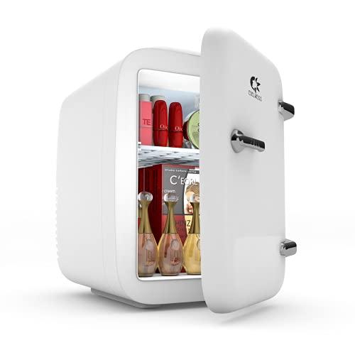 EDELWEISS Skincare Fridge, Mini Fridge for Bedroom, Makeup Refrigerator, Tiny Cosmetic Beauty Fridge, Desk Fridge for Office, Small Breastmilk Fridge, Portable Design with Handle, 4 Liter/6 Can