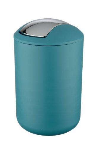 Wenko Kosmetikeimer Brasil L 6,5 Liter, Badezimmer-Mülleimer mit Schwingdeckel, Abfalleimer aus bruchsicherem Kunststoff, Ø 19,5 x 31 cm, petrol