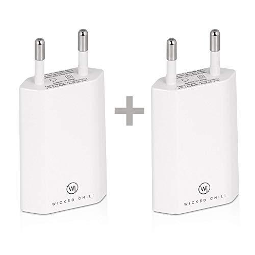 Wicked Chili 2X Pro Series Netzteil - Ultra Slim - USB Adapter kompatibel mit Apple iPhone SE 2020, 11, 11 Pro, 11 Pro Max, XS, XS Max, XR, Samsung Galaxy S10, 10+, S10 Lite, S9+, S9 (1A, 5V) weiß