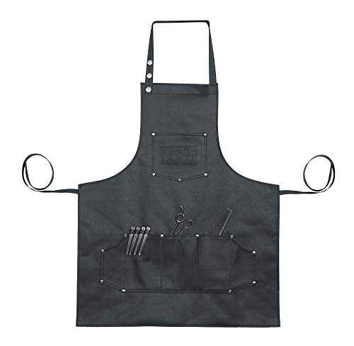 """Facón Professional Leather Hair Cutting Hairdressing Barber Apron Cape for Salon Hairstylist - Multi-use, Adjustable with 6 Pockets - Heavy Duty Premium Quality - Limited Edition - 28"""" x 24"""" (Black)"""