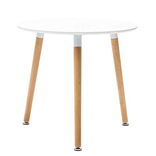 Milani Home s.r.l.s. Tavolo da Pranzo Moderno di Design Rotondo Fisso in ABS Bianco Diametro 80 con Gambe in Legno per Interno Sala da Pranzo Cucina