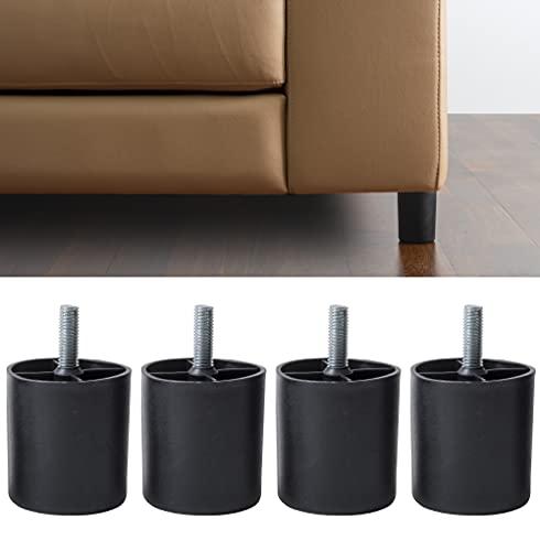 IPEA 4X Piedini in Plastica per Divani e Mobili – Altezza 80 mm – Set di 4 Piedi con Vite per Poltrone Armadi – Gambe – Colore Nero – Alti 8 cm