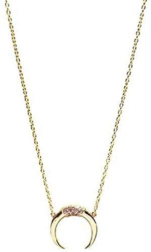 MGBDXG Co.,Ltd Collar Collar Largo de Media Luna Collar Delicado y Transparente para Mujer Collar con Colgante de Luna Collar