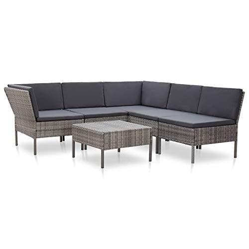 vidaXL Gartenmöbel 6-TLG. mit Auflagen Lounge Möbel Garten Garnitur Sitzgruppe Sofa Gartenset Sitzgarnitur Gartensofa Poly Rattan Grau
