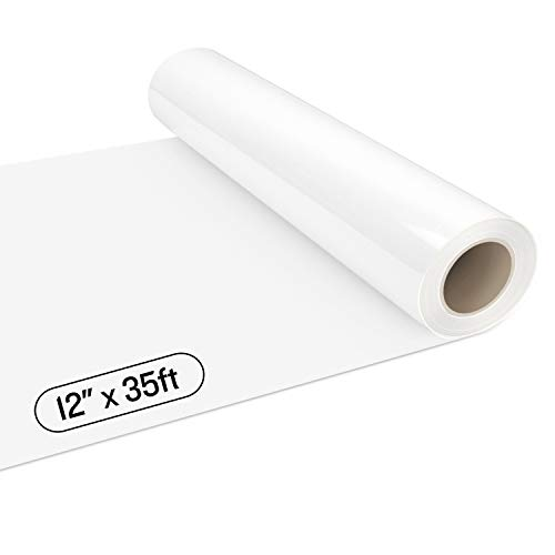 YRYM White HTV Vinyl Roll - 12' x 35ft PU HTV White Iron on Vinyl for Cutting Machines, Easy to Cut & Weed White Heat Transfer Vinyl Roll Heat Press Design for T Shirts