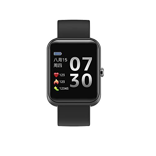 KaiLangDe Smartwatch Reloj Inteligente con Pulsómetro Cronómetros Calorías Monitor de Sueño Podómetro Monitores de Actividad Impermeable Reloj Deportivo para Android iOS Pulsera (Color : Black)